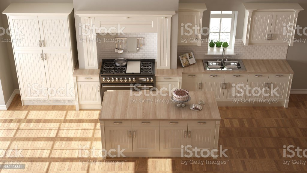 Classic kitchen, elegant interior design with wooden details royalty-free stock photo