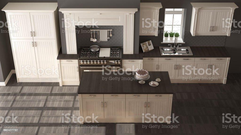 Cuisine classique, design intérieur élégant avec des détails en bois photo libre de droits