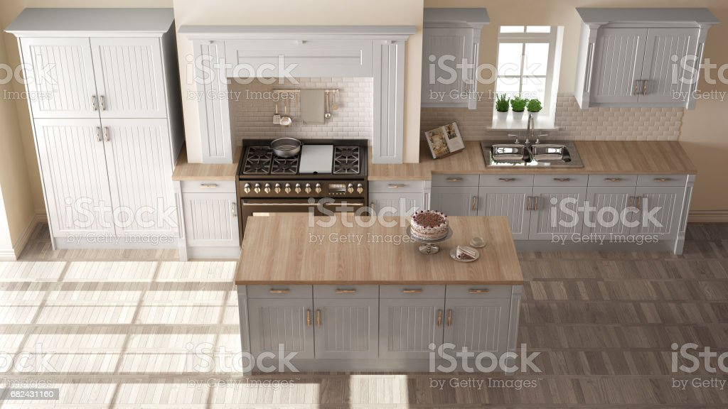 Classic kitchen, elegant interior design with wooden details stock photo