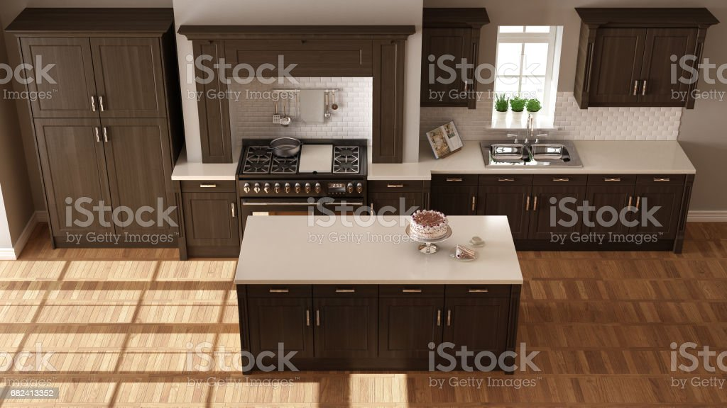 Classic kitchen, elegant interior design with wooden details, top view royalty-free stock photo