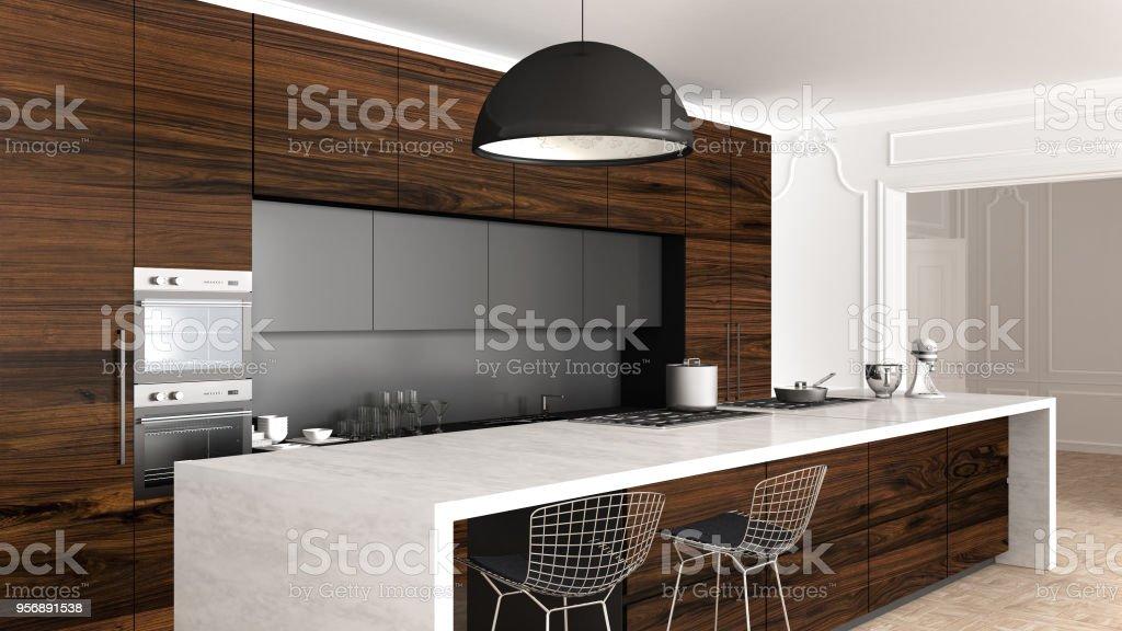 Klassische Küche In Vintage Zimmer Mit Formteilen Wand ...