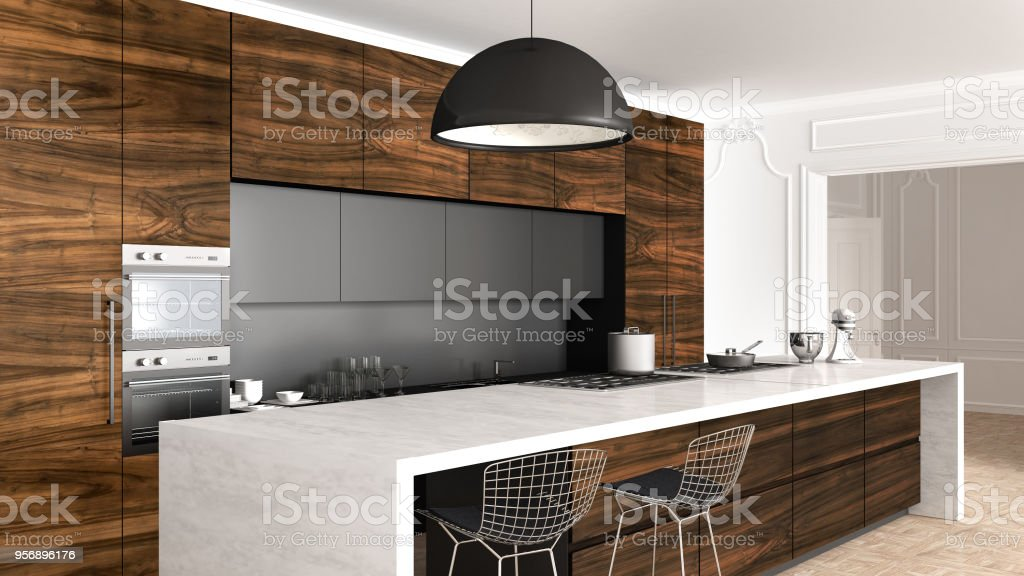 Classic Kitchen In Vintage Room With Moldings Wall Luxury Interior