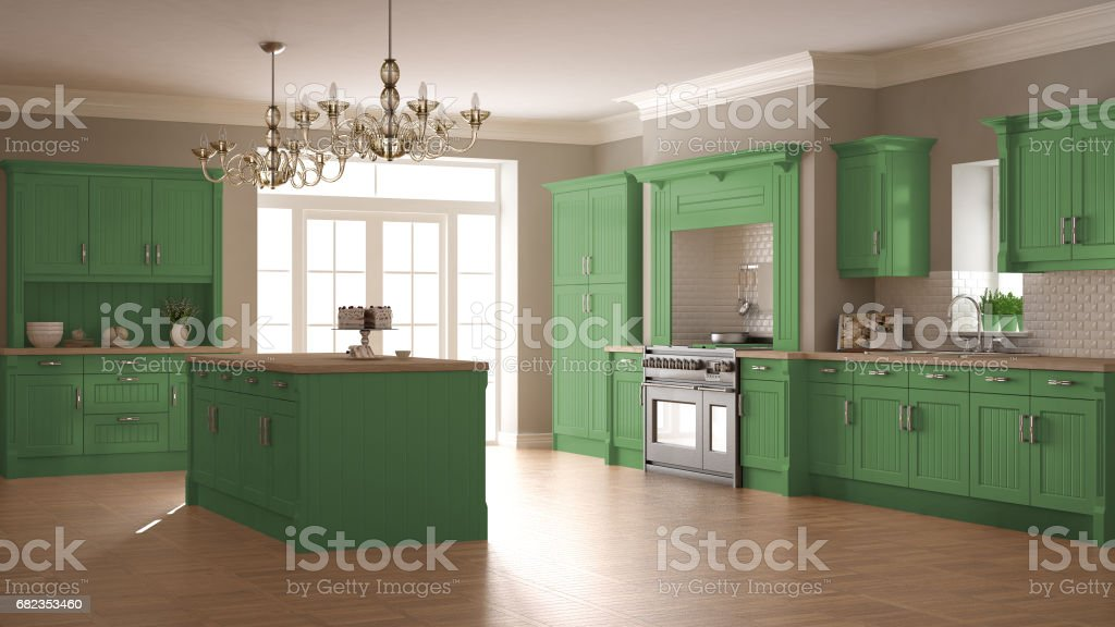 Classic kitchen, scandinavian minimal interior design with wooden and green details foto stock royalty-free