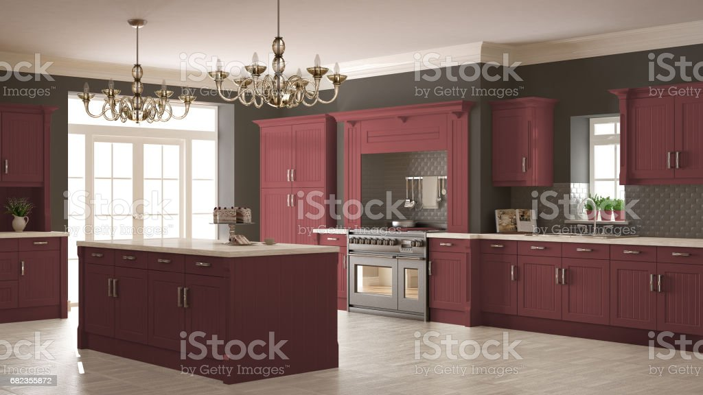 Classic kitchen, scandinavian minimal interior design with wooden and red details foto stock royalty-free