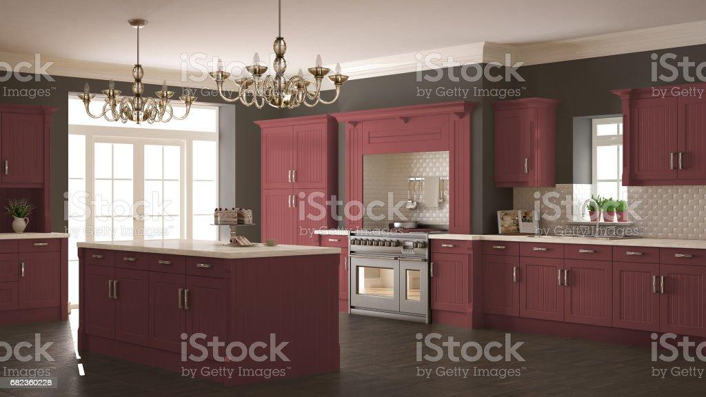 Classic kitchen, scandinavian minimal interior design with wooden and red details zbiór zdjęć royalty-free