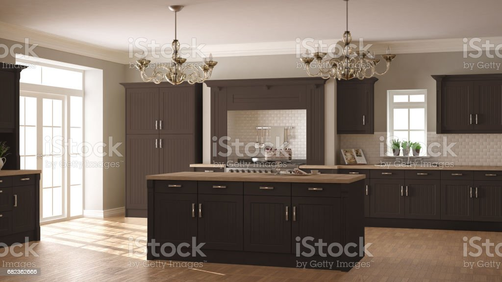Classic kitchen, scandinavian minimal interior design with wooden and brown details foto stock royalty-free