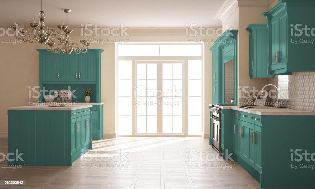 Classic kitchen, scandinavian minimal interior design with wooden and turquoise details zbiór zdjęć royalty-free