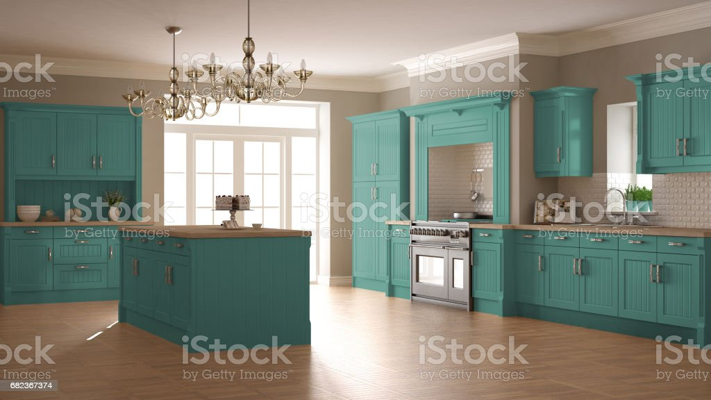 Classic kitchen, scandinavian minimal interior design with wooden and turquoise details foto stock royalty-free