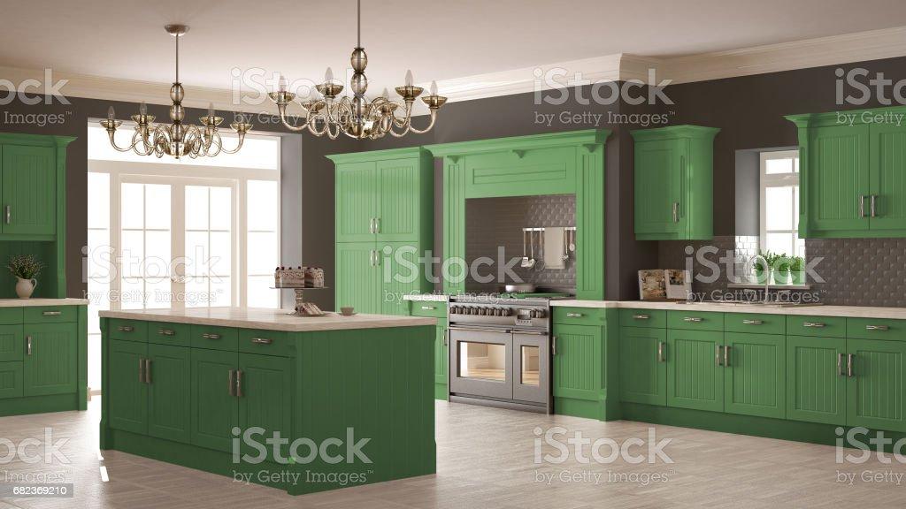 Klassieke keuken, Scandinavische minimale interieur met houten en groene details royalty free stockfoto