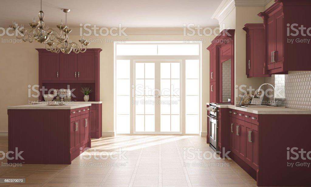 Klassiska kök, skandinaviska minimal inredning med trä och röda detaljer royaltyfri bildbanksbilder
