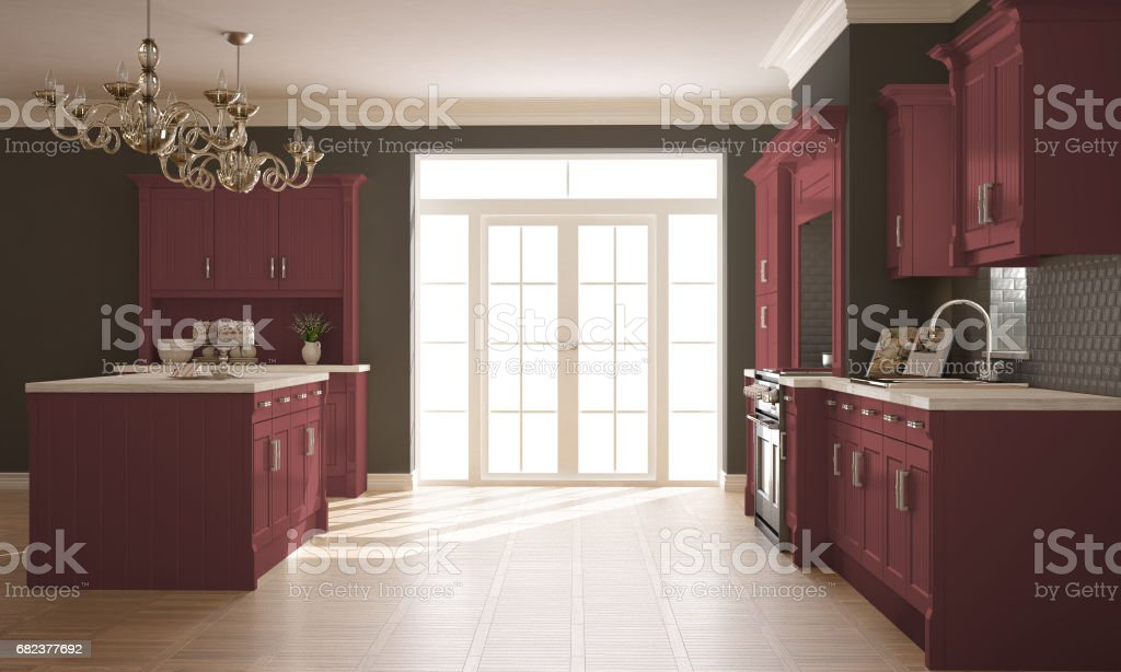 Classic kitchen, scandinavian minimal interior design with wooden and red details royalty-free stock photo