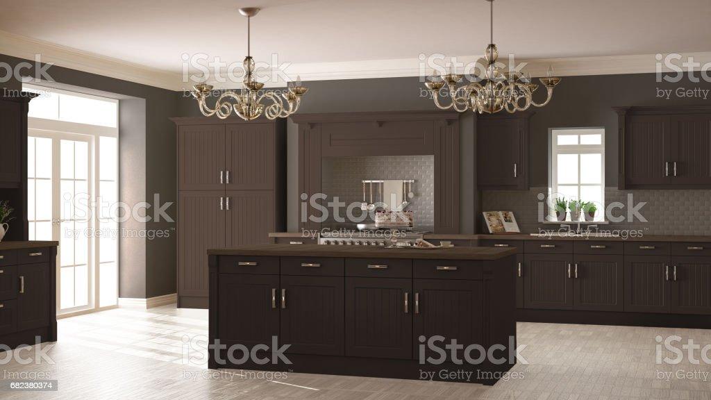 Klassieke keuken, Scandinavische minimale interieur met houten en bruine details royalty free stockfoto