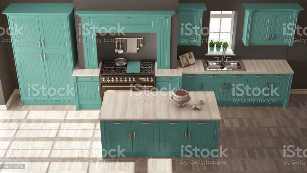 Classic kitchen, scandinavian minimal interior design with wooden and turquoise details royalty-free stock photo