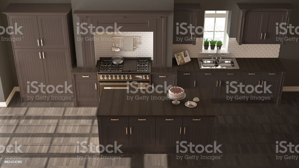 Classic kitchen, scandinavian minimal interior design with wooden and brown details royalty-free stock photo