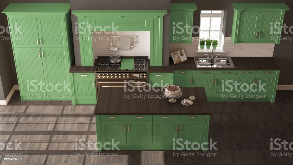 Classic kitchen, scandinavian minimal interior design with wooden and green details royalty-free stock photo