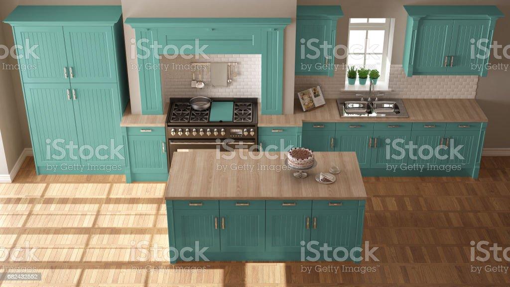 Cuisine classique, design d'intérieur scandinave minimal avec des détails en bois et turquoises photo libre de droits