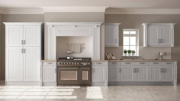 klassische küche, skandinavischen minimal innenarchitektur mit holzdetails - landküche stock-fotos und bilder