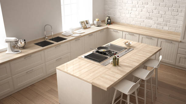 Classic kitchen with modern wooden details and big window, white minimalistic interior design, top view stock photo