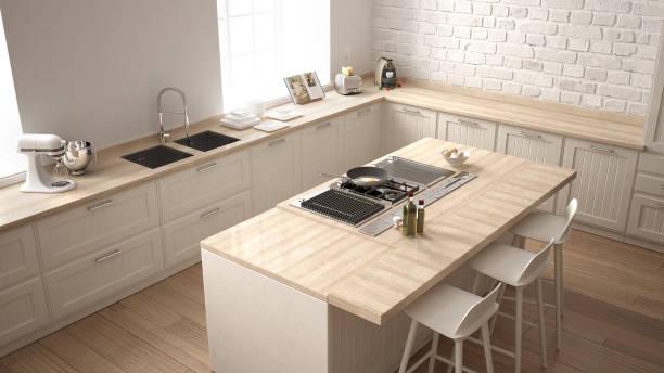 klassische küche mit modernen holzdetails und große fenster, weiße minimalistischen innenarchitektur, draufsicht - kochinsel stock-fotos und bilder