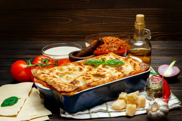 Classic Lasagna with bolognese and bechamel sauce stock photo