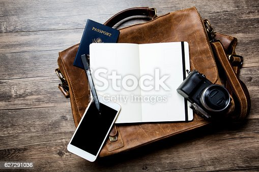 istock Classic Leather Briefcase with Open Notebook on Wood 627291036