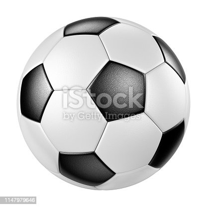 Classic design leather soccer ball isolated on white background. Traditional black and white football closeup. 3D illustration