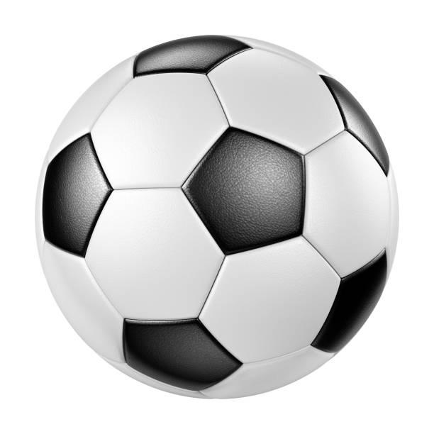classic leather soccer ball isolated on white background - soccer imagens e fotografias de stock