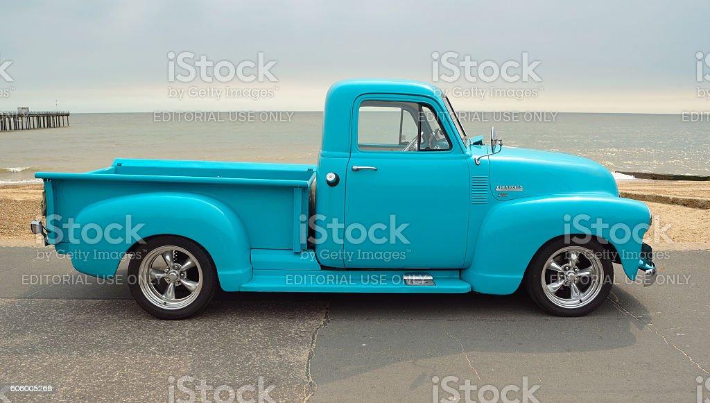 Classic Light Blue Chevrolet 3100 Pickup Truck Stock Photo & More ...