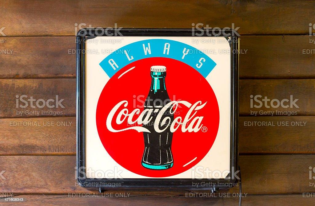 Classic light box coca-cola brand royalty-free stock photo