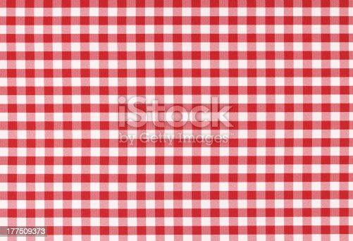 Red and white classic checked tablecloth texture with copy space