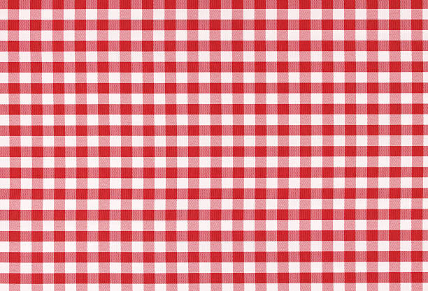 Classic linen tablecloth texture Red and white classic checked tablecloth texture with copy space red cloth stock pictures, royalty-free photos & images