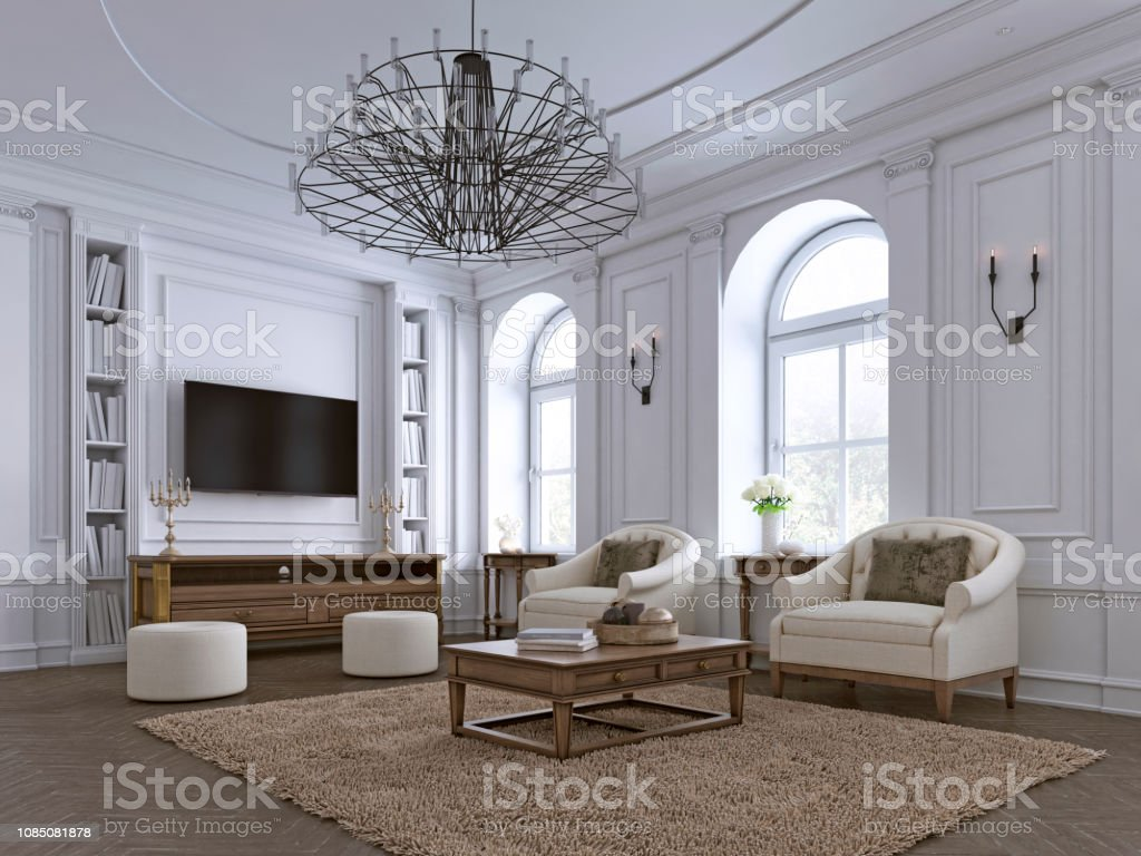 Photo libre de droit de Salon Classique Lambris Et Moulures ...