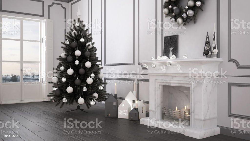Salon Classique Avec Grande Fenêtre Et Cheminée, Arbre De Noël Et Décors,  Hiver,