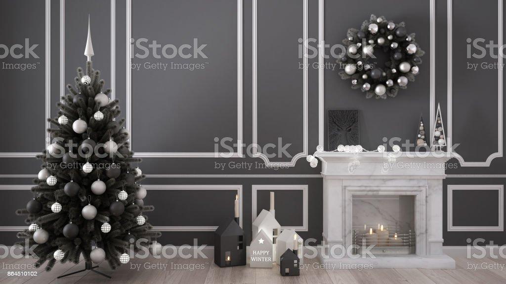 Classique Salle De Séjour Avec Cheminée, Arbre De Noël Et Décors, Hiver,  Design