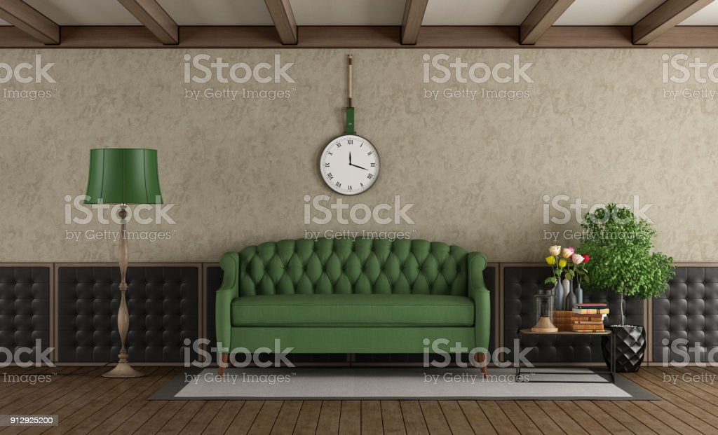 Apartment, Carpet   Decor, Coffee Table, Domestic Room, Furniture. Classic  Living Room With Green ...