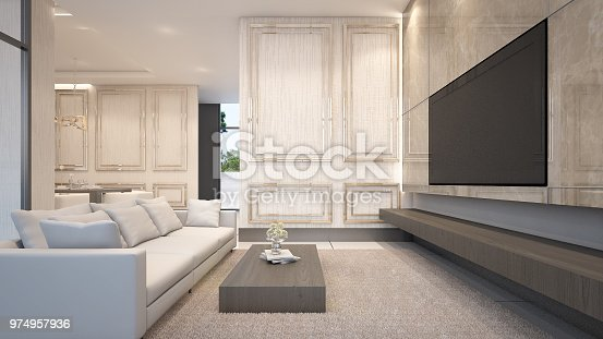 988616560 istock photo Classic living room with sofa sets and television , 3d rendering 974957936