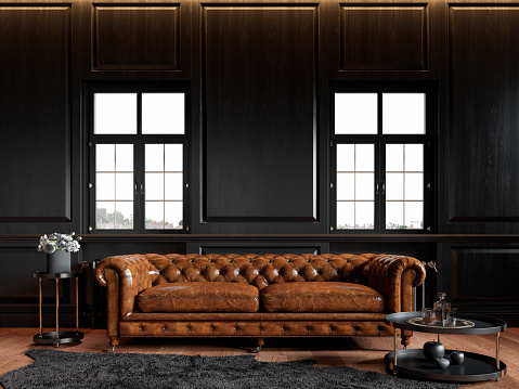 Classic loft black interior with wood panel, chesterfield couch, carpet, flowers, coffee table and windows. 3d render illustration mock up.