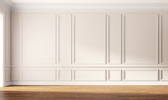 Classic luxury empty room with beige walls. 3d illustration