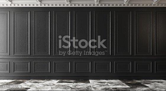 847138534 istock photo Classic luxury empty room with marble floor and black walls. 1221955279