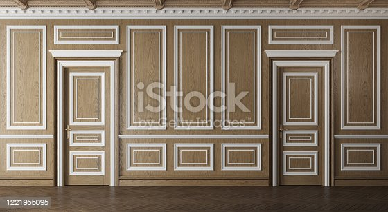 847138534 istock photo Classic luxury empty room with wooden boiserie on the wall. 1221955095