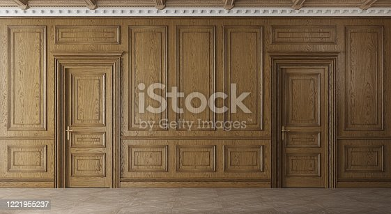 847138534 istock photo Classic luxury empty room with wooden boiserie on the wall. 1221955237