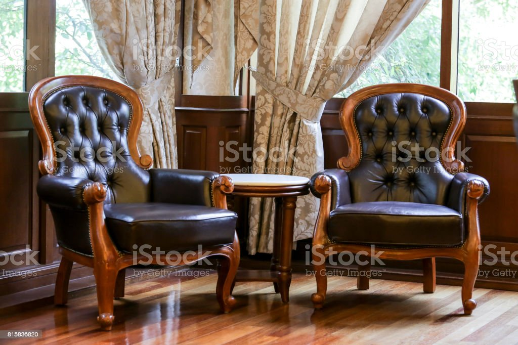 Classic luxury leather chair stock photo