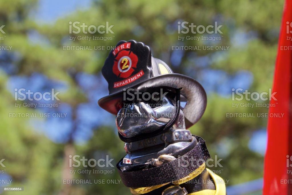 Classic Mack fire truck bulldog hood ornament stock photo