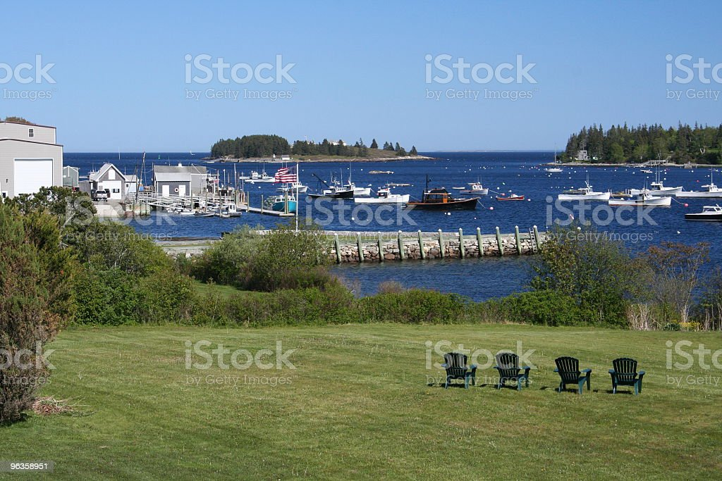 classic Maine harbor stock photo