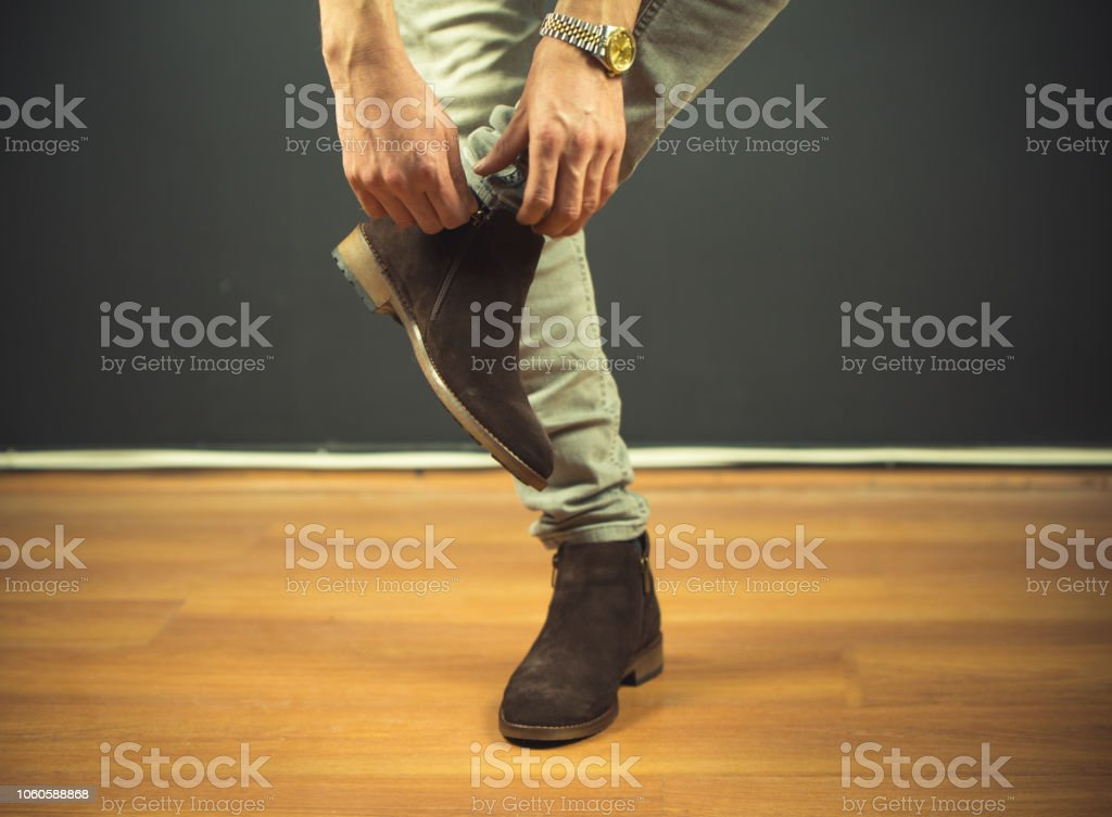 Classic man shoes at white background