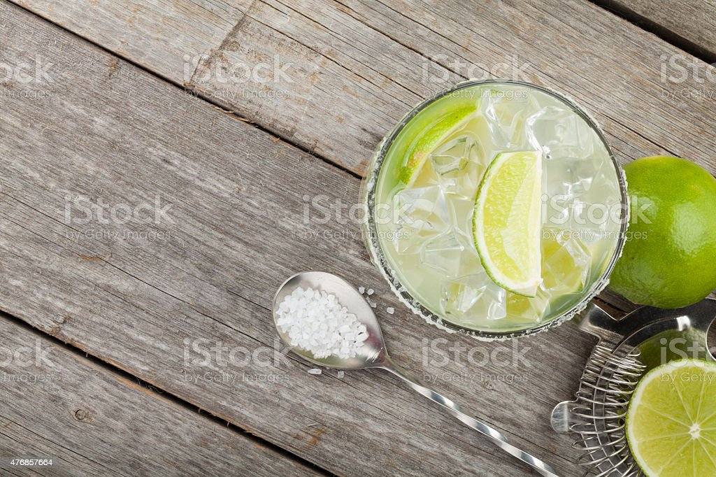 Classic margarita cocktail with salty rim stock photo