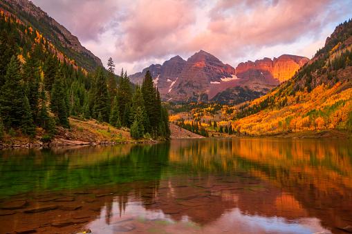 Sunrise on Maroon Bells, located outside of Aspen, Colorado on a fall morning