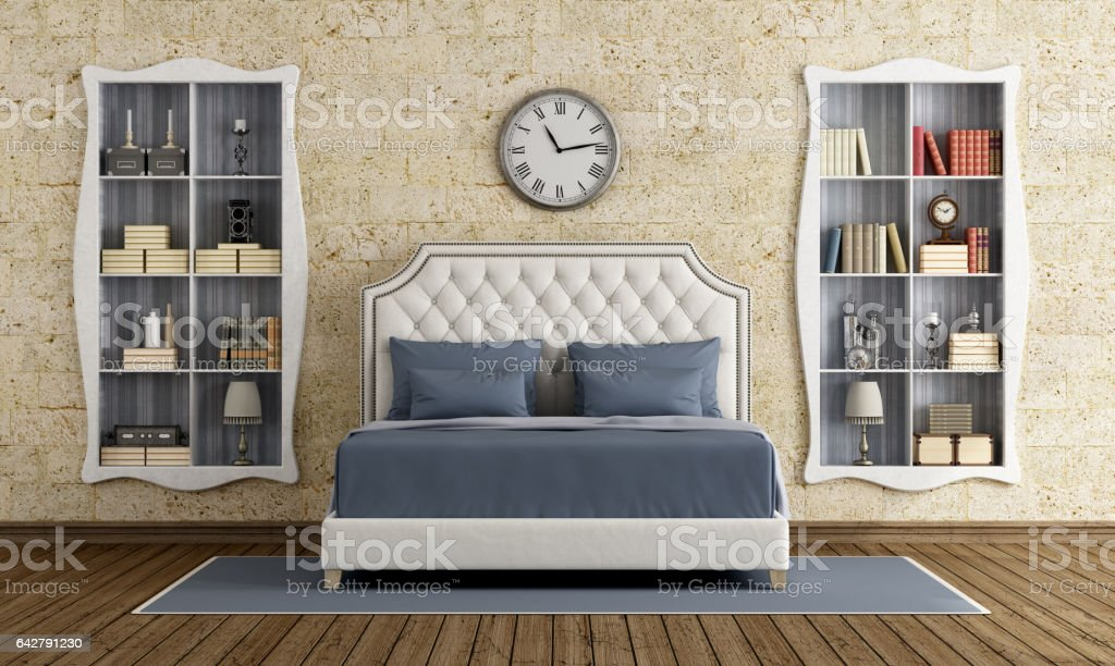 Classic master bedroom stock photo