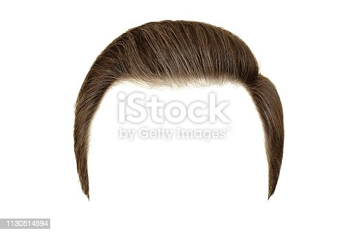 Classic men hairstyle. Brown hair isolated on white background