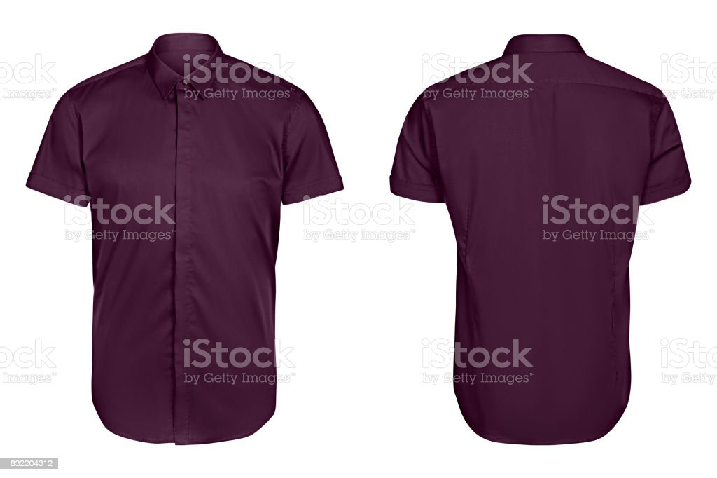 classic mens violet shirt short sleeve   isolated white background royalty-free stock photo